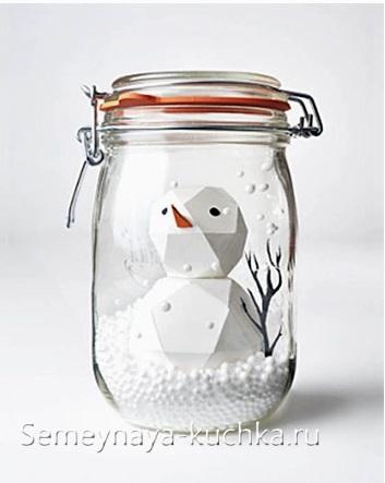 снеговик из бумаги 3D