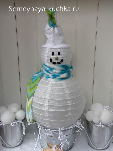 бумажный снеговик сделать