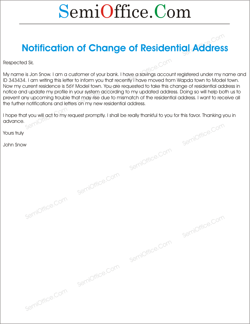 change of address letter to the bank template s le