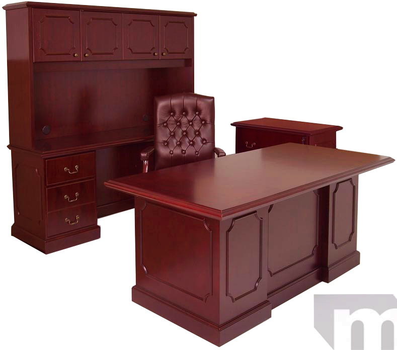 In Stock Traditional Cherry Office Furniture   In Stock   Free Shipping      Franklin Traditional Dark Cherry Veneer Office Furniture  72