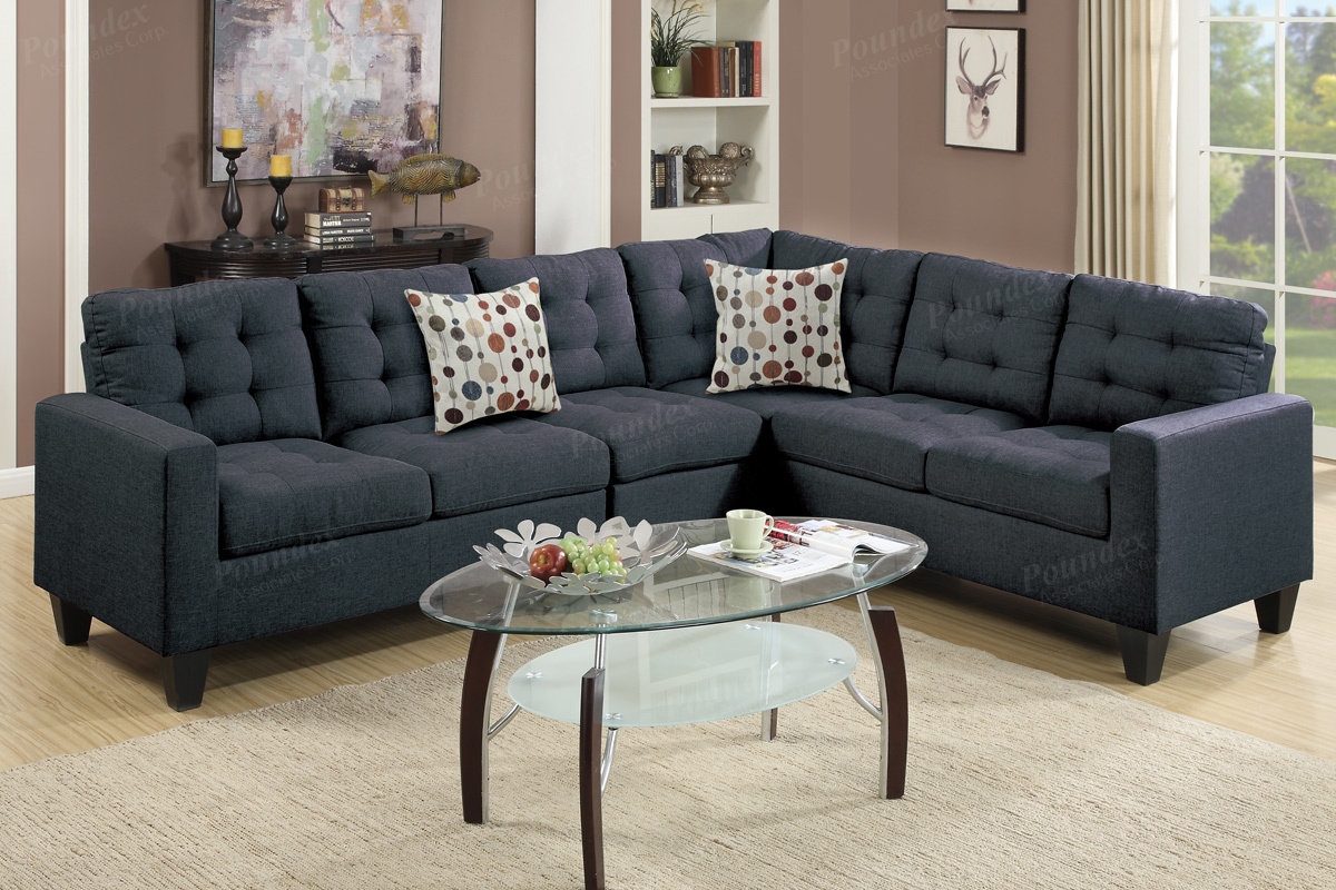 Daily Deals   Steal A Sofa Furniture Outlet in Los Angeles CA Peta Black Fabric Sectional Sofa