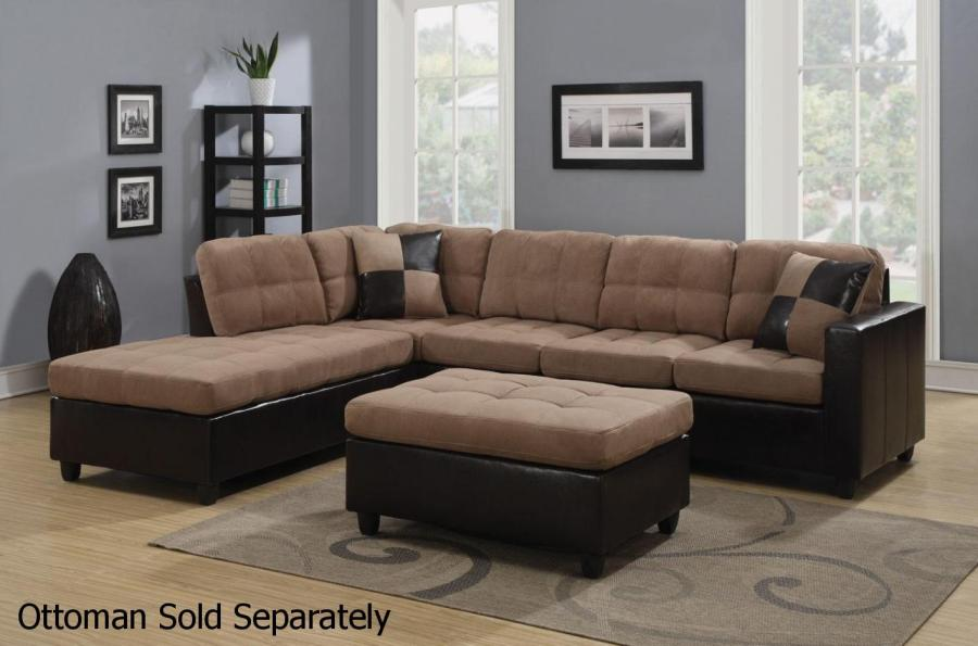 Mallory Beige Leather Sectional Sofa   Steal A Sofa Furniture Outlet     Mallory Beige Leather Sectional Sofa