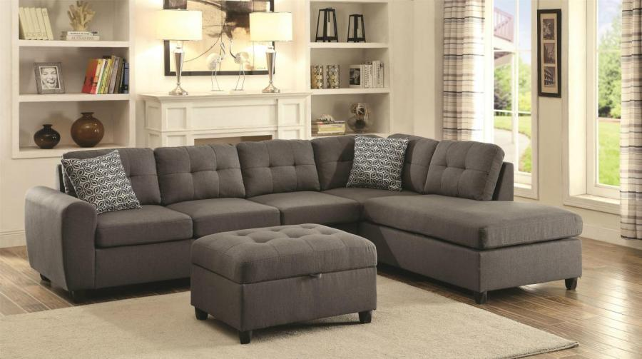 Stonenesse Grey Fabric Sectional Sofa   Steal A Sofa Furniture     Stonenesse Grey Fabric Sectional Sofa