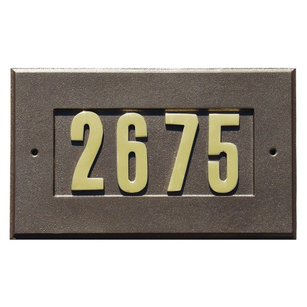 QualArc   Manchester Address Plate with 3 inch Brass Numbers     Manchester Address Plate with 3 inch Brass Numbers  included  in Bronze