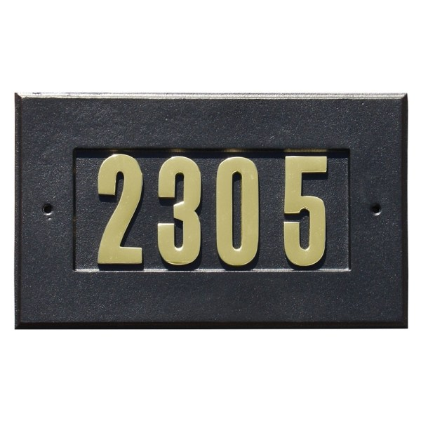 QualArc   Manchester Address Plate with 3 inch Brass Numbers     Manchester Address Plate with 3 inch Brass Numbers  included  in Black