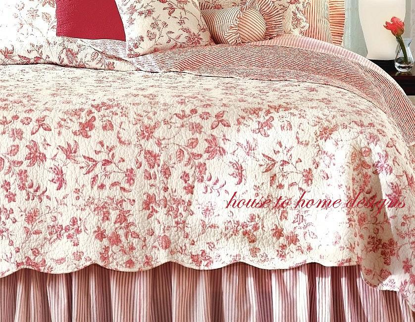 Cover King And Duvet White Toile Red