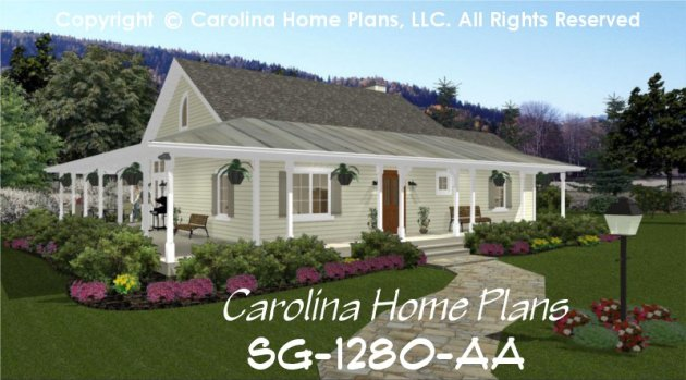 Small Country Cottage House Plan SG 1280 AA Sq Ft   Affordable Small     CHP SG 1280 AA br   Small Country Cottage House Plan