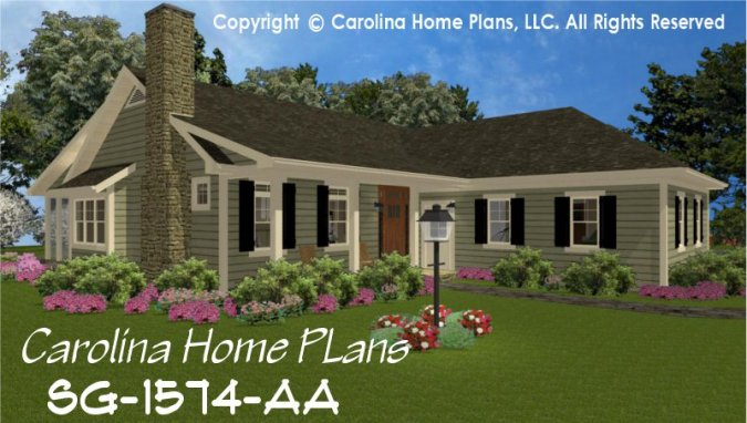 Small Country Style House Plan SG 1574 Sq Ft   Affordable Small Home     CHP SG 1574 AA br   Small Country Style House Plan