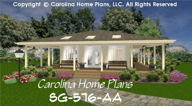 Tiny Cottage Style House Plan SG 576 Sq Ft   Affordable Small Home     CHP SG 576 AA br   Tiny Cottage Style House Plan