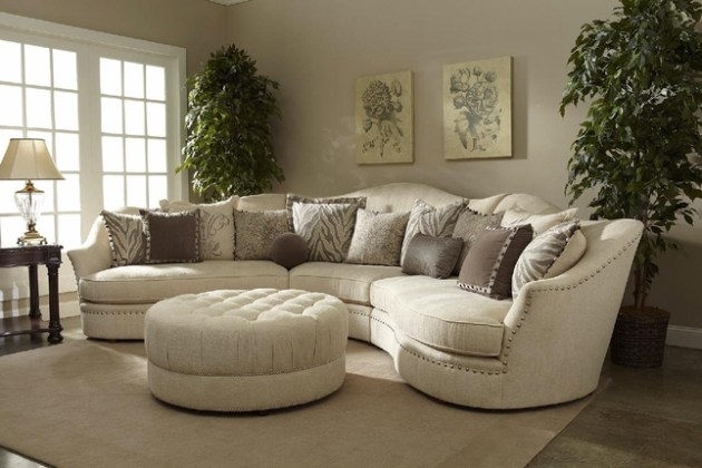 Ivory Sectional Sofa   Curved Sectional   Shop Factory Direct Amanda Transitional Curved Ivory Sectional Sofa w  Loose Pillow Back