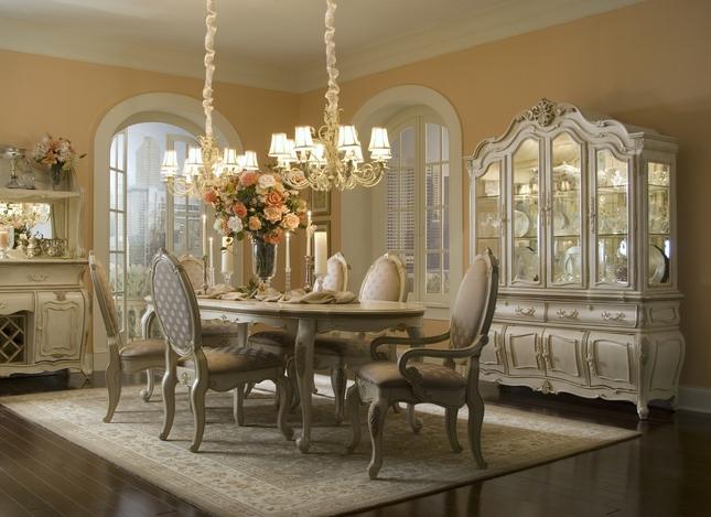 Michael Amini Lavelle Blanc Antique White Finish Dining