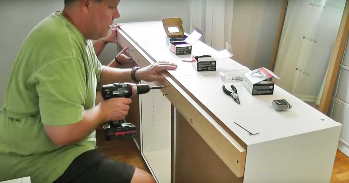 Man Uses 7 Standard Ikea Kitchen Cabinets To Build A