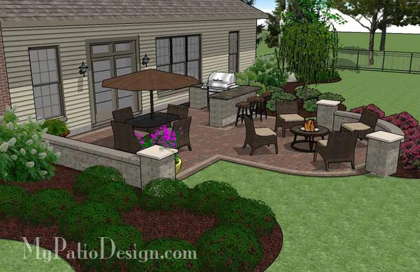 Best Creative Backyard Patio Design With Seating Wall 525 Sq This Month