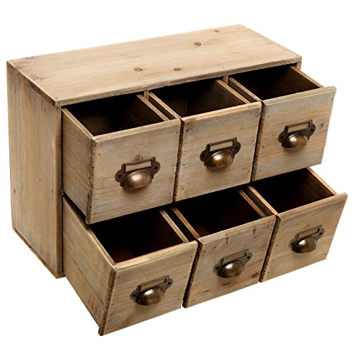 Best Vintage Style Wood 6 Drawer Cabinet Box Decorative This Month