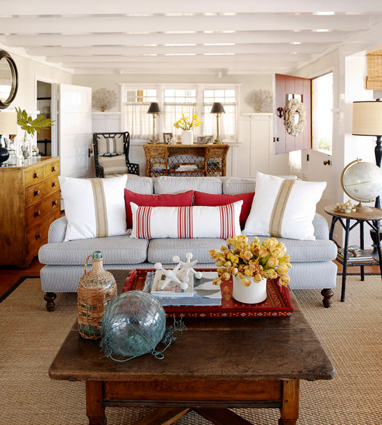 Best A Beach Cottage That S Black And White And Red All Over This Month