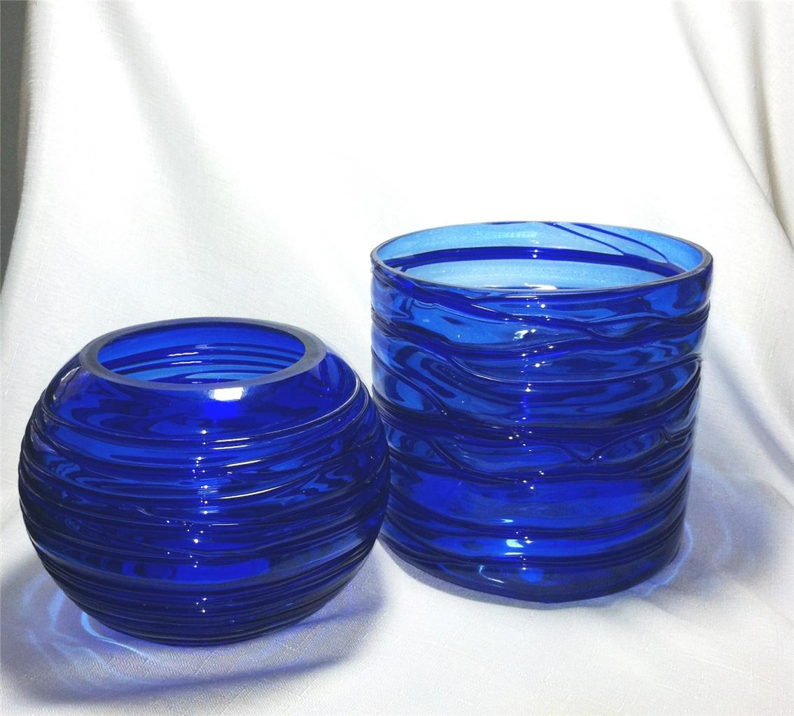 Best Cobalt Blue Glass Round Hand Blown Bowls Vases Home Decor This Month