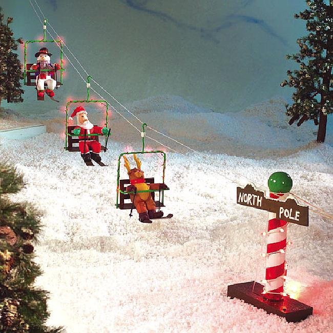 Best Rare Santa Reindeer Snowman Animated Ski Lift Christmas This Month