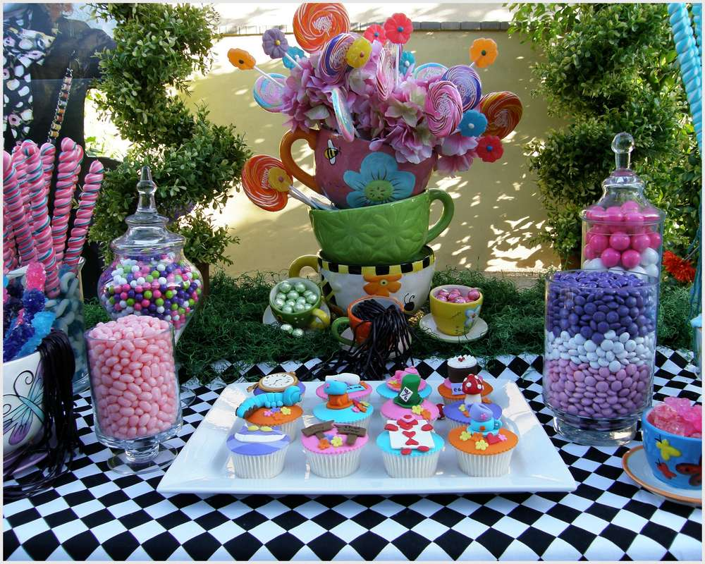 Best Alice In Wonderland Mad Tea Party Candy Buffet Birthday This Month