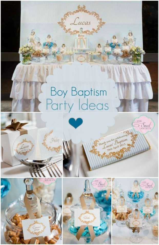 Best Boy Baptism Party In Blue White And Gold Spaceships And This Month