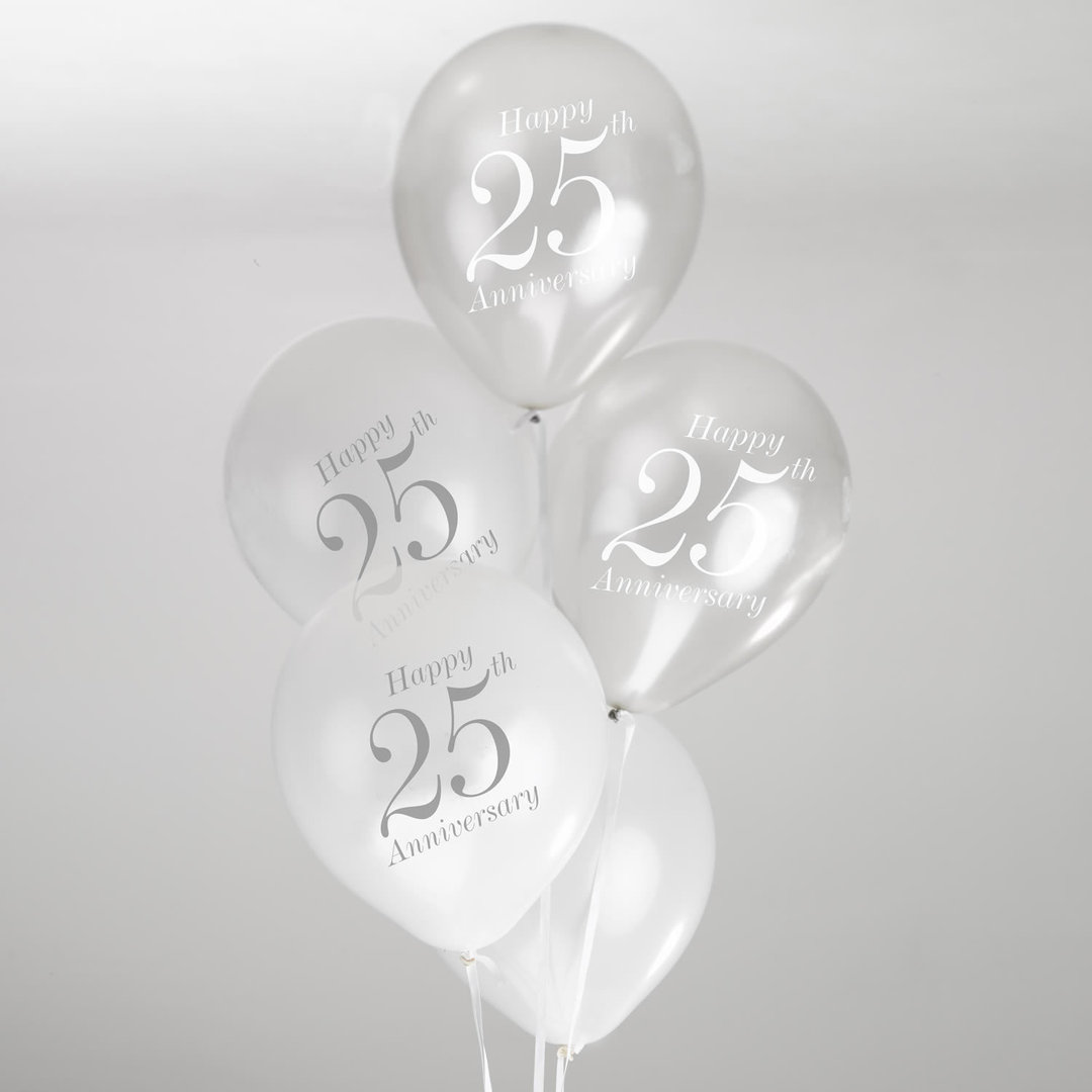 Best 25Th Wedding Anniversary Balloons White Silver This Month