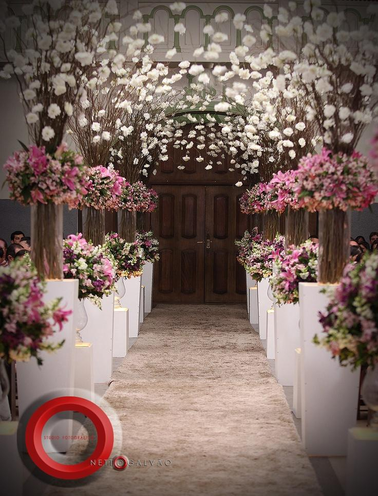 Best Wedding Aisle Decorated With Pink And White Flowers This Month