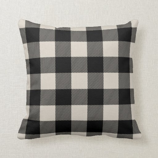 Best Black And Beige Preppy Buffalo Check Plaid Throw Pillow This Month