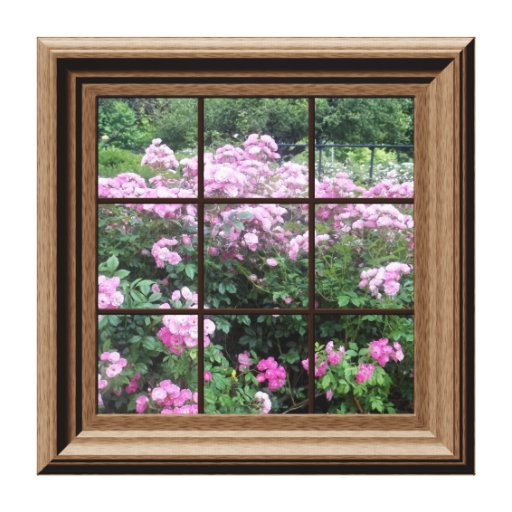 Best Faux Window Scene Rose Garden Canvas Wall Art Stretched This Month