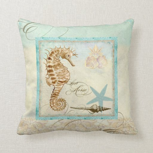 Best Sea Horse Coastal Beach Home Decor Pillow Zazzle This Month