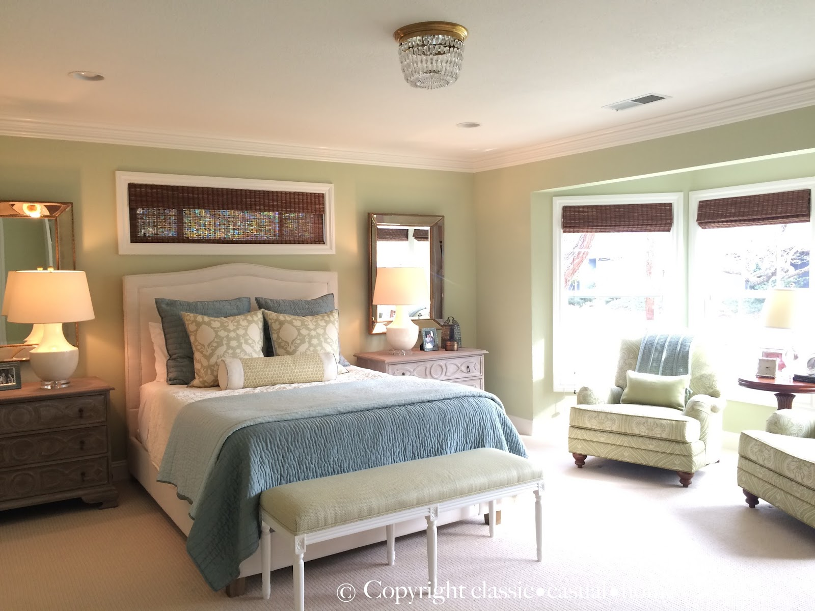 Best Classic • Casual • Home Soft Green Blue Master Bedroom This Month