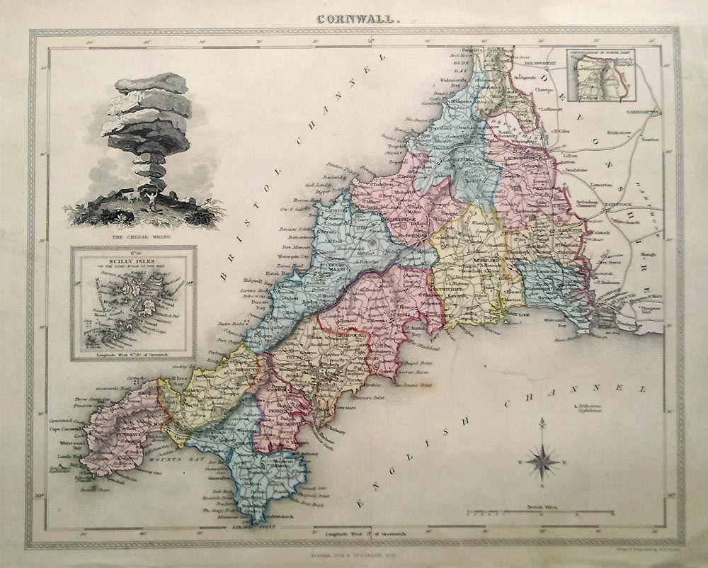Best Antique Map Of Cornwall By Fisher 1832 This Month