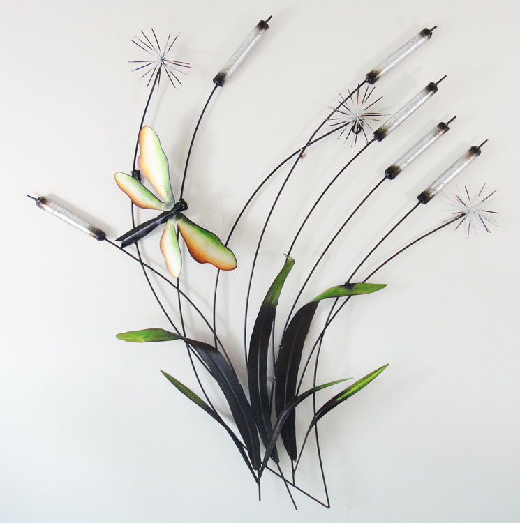 Best New Contemporary Metal Wall Art Decor R Sculpture Dragonfly Rush Reeds Ebay This Month