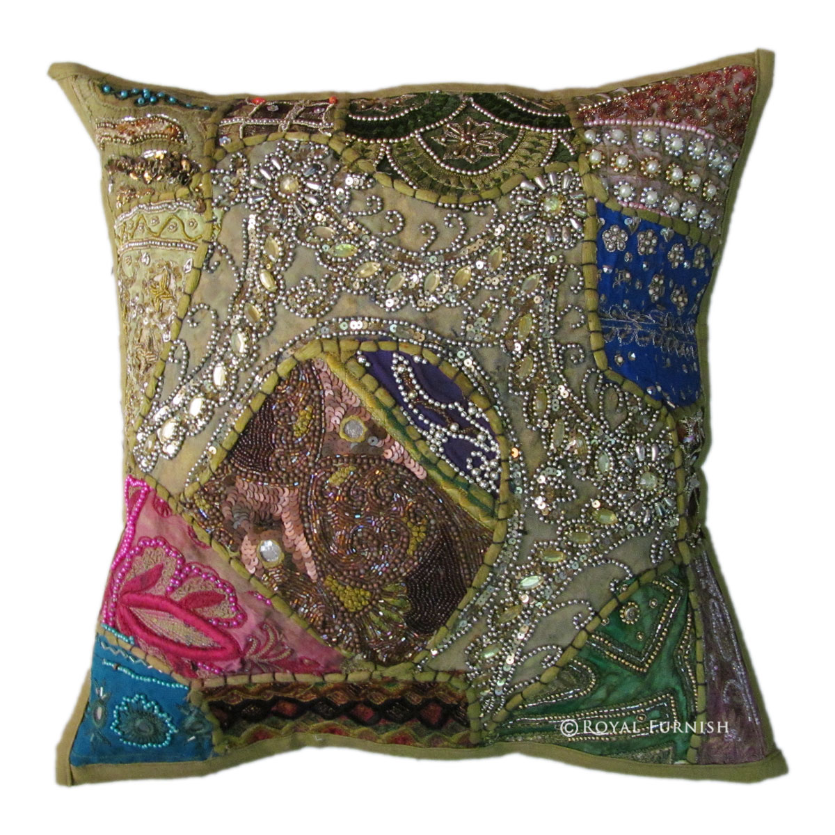 Best Green Antique Beaded Patchwork Embroidered Accent Throw This Month