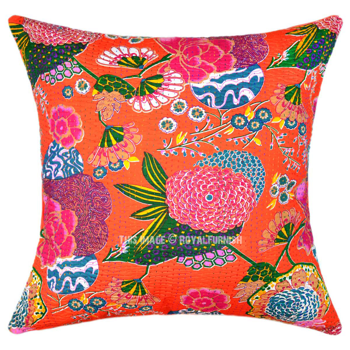 Best 24 Oversized Large Orange Tropical Kantha Sofa Couch This Month