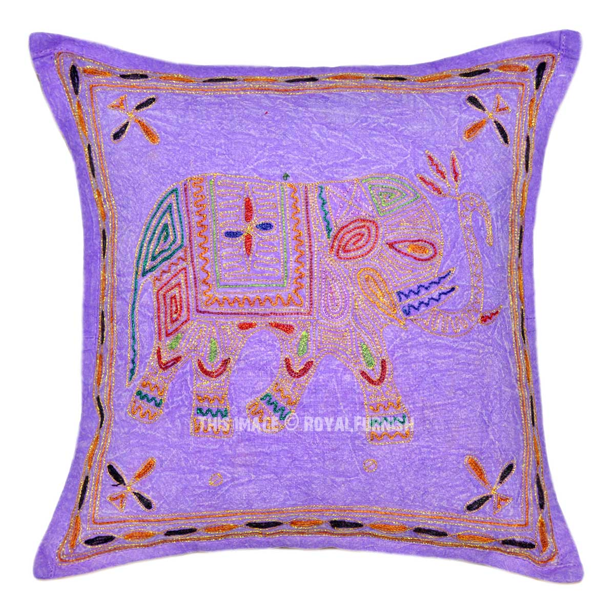 Best Purple Decorative Embroidered Elephant Cotton Pillow Cover This Month