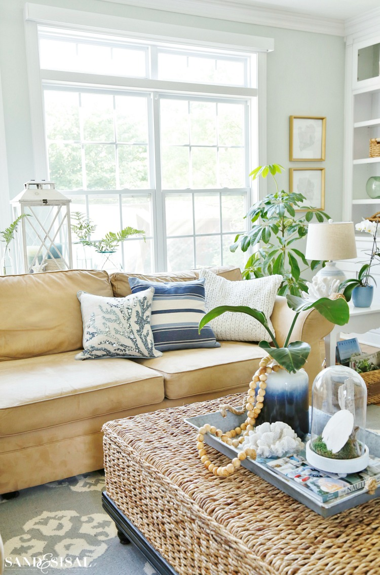 Best Summer Blues Coastal Family Room Tour Sand And Sisal This Month