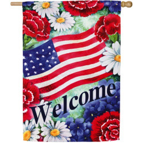 Best Blue White And Welcome House Flag House Flags On Sale This Month