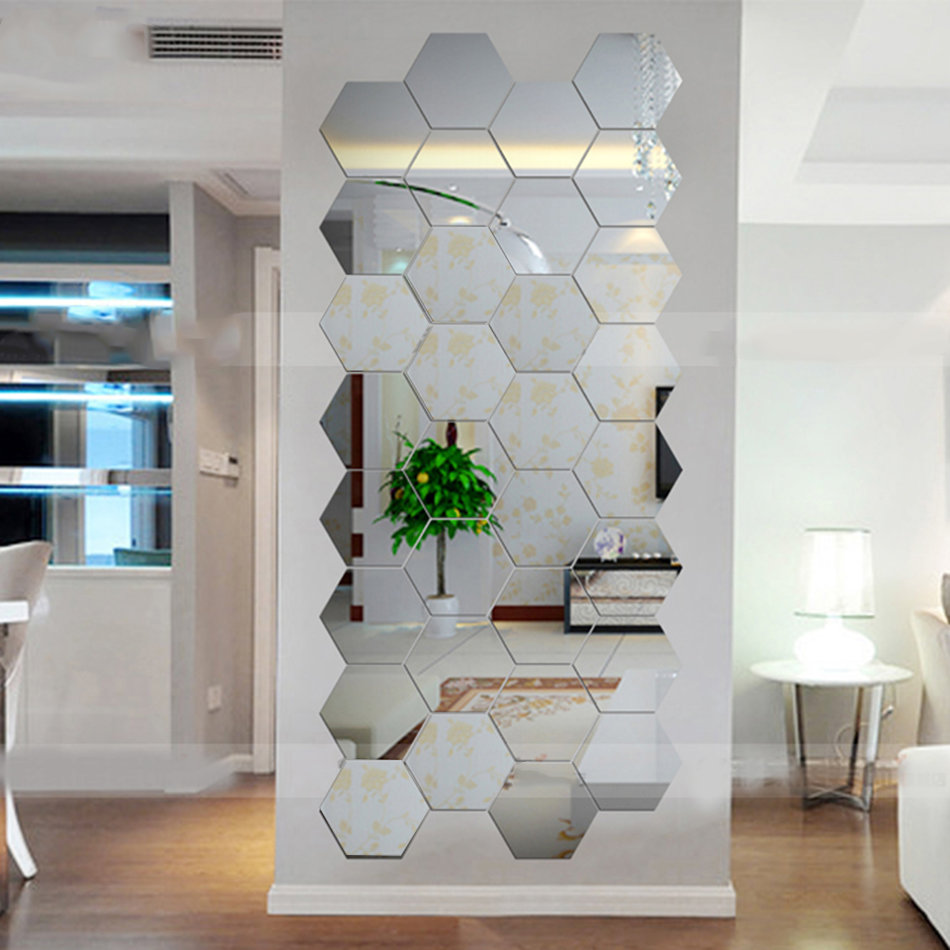 Best Hexagonal 3D Mirrors Wall Stickers Home Decor Living Room This Month