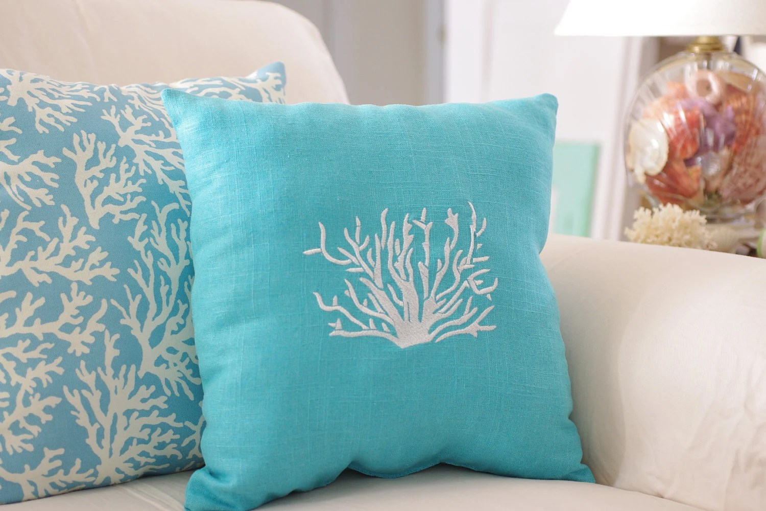 Best Beach Decor Turquoise Blue Throw Pillow By Bytheseashoredecor This Month