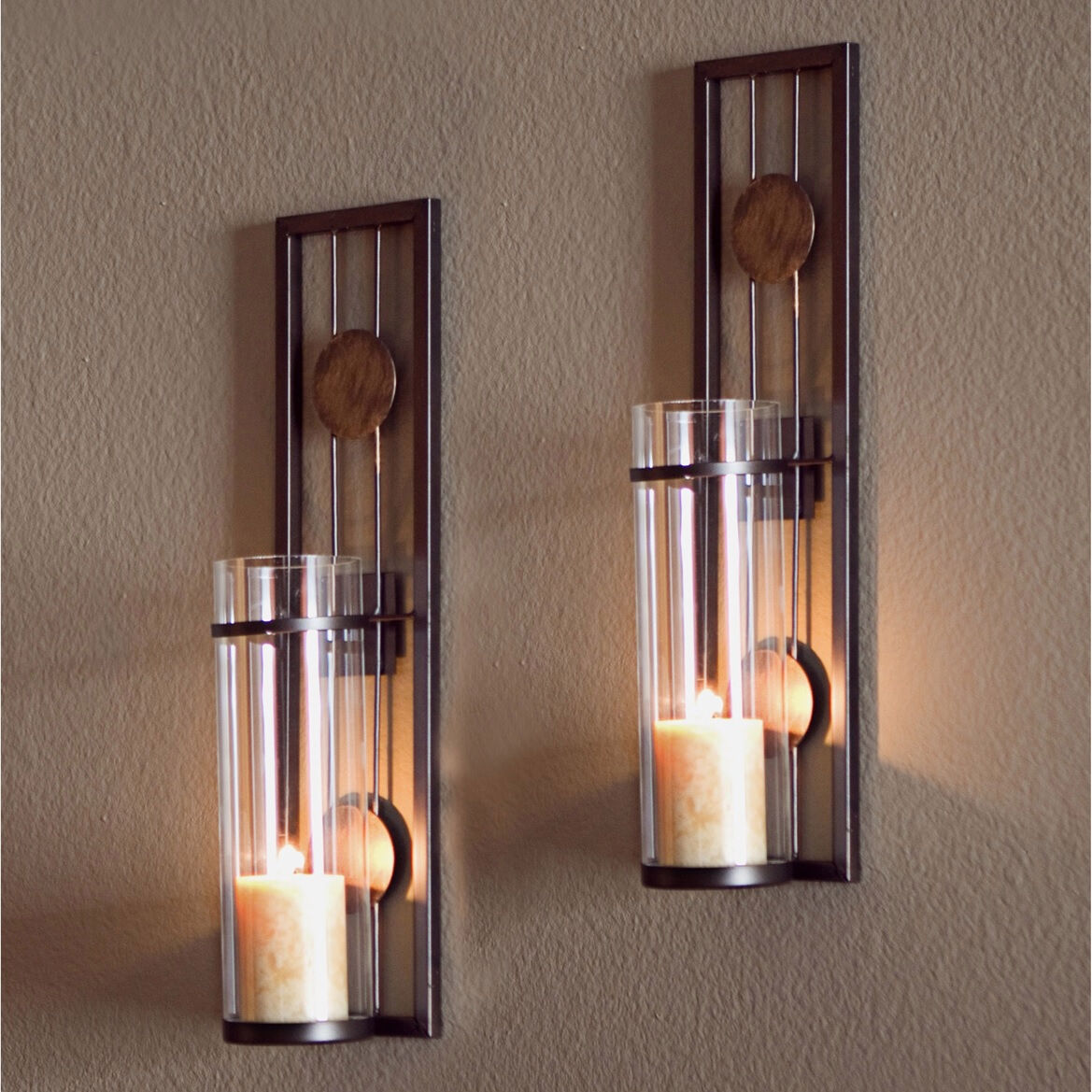 Best Glass Metal Wall Mounted Sconces 2 Pillar Candle Holders This Month