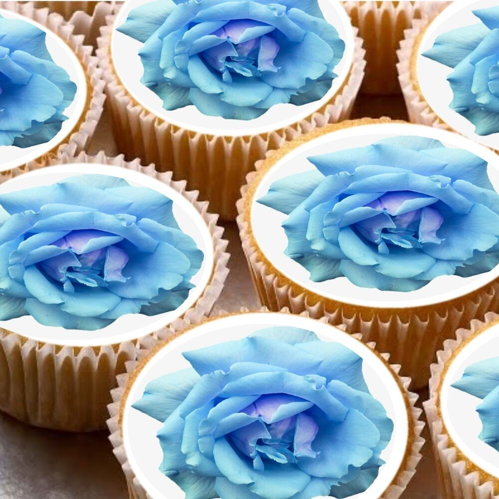 Best 24 Edible Cake Toppers Decorations Blue Rose Flower Wafer This Month