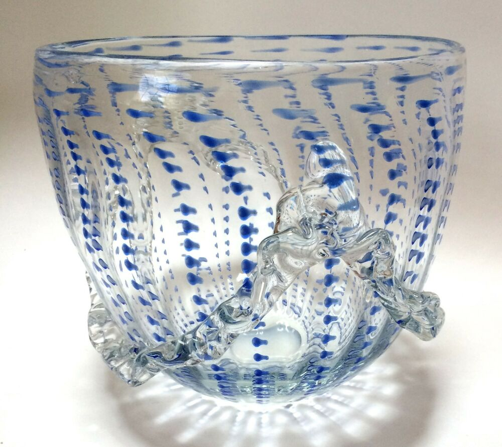Best Large Art Glass Decorative Bowl Applied Ribbon Handle This Month