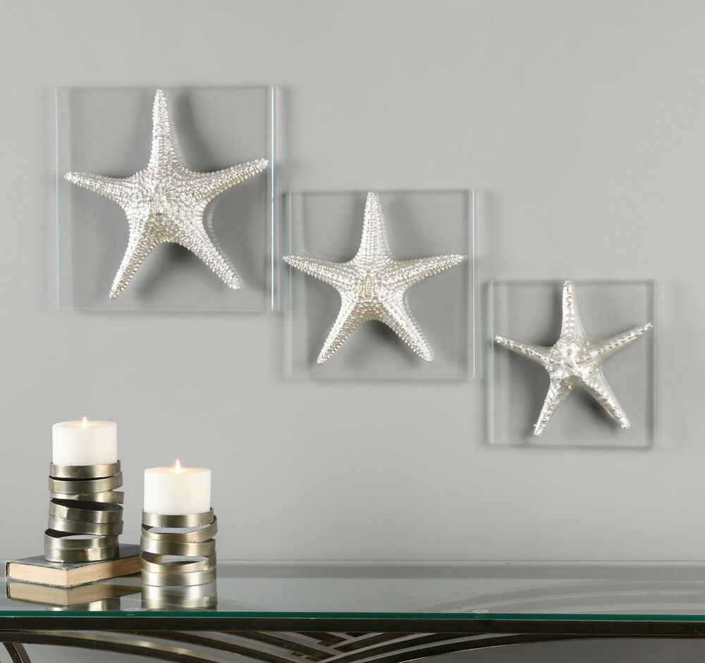 Best Three New Decorative Starfish Silver On Glass Wall Art This Month