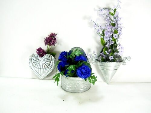Best 3Pc Set Decorative Galvanized Wall Planters Flowers Garden This Month