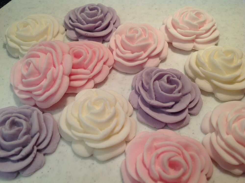 Best Edible Icing Sugar Rose Flower Cupcake Topper Birthday This Month