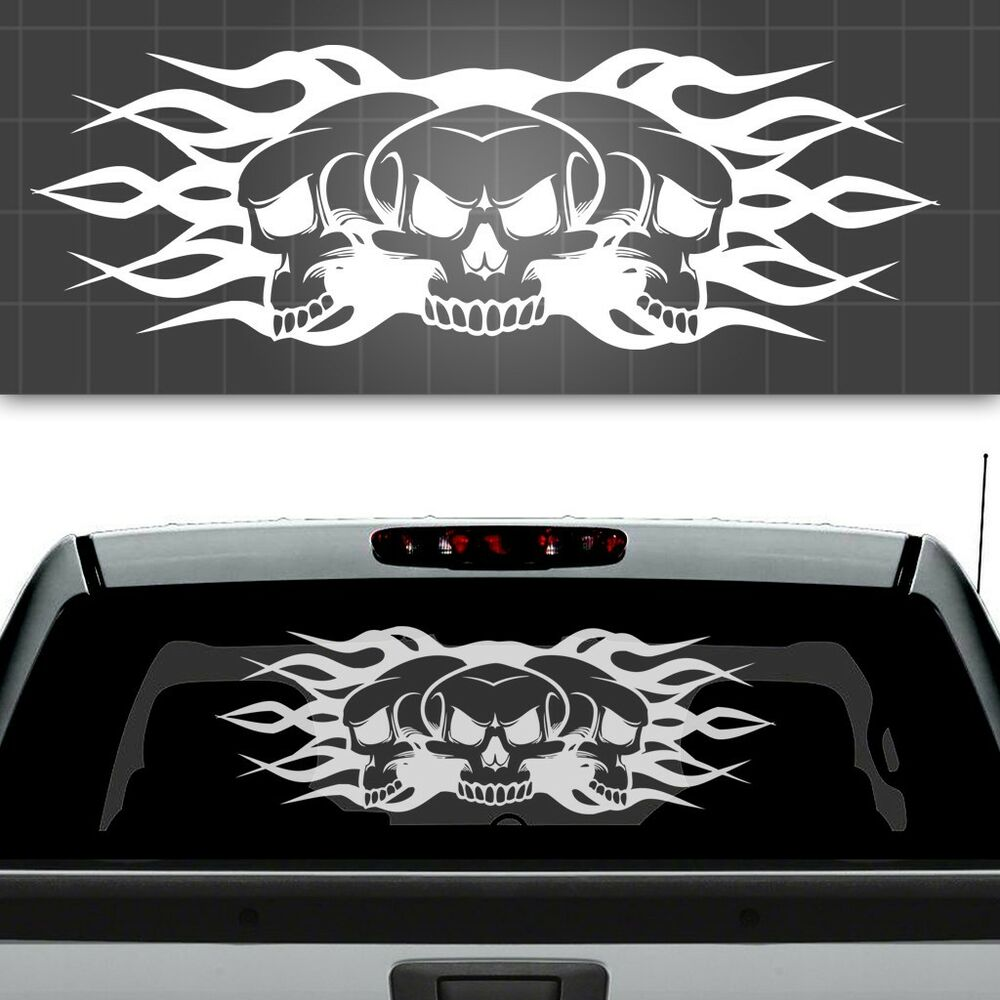 Best Skull And Flames Truck Window Decal Truck Window Sticker This Month