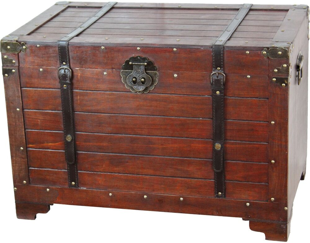 Best Steamer Trunk Antique Style Chest Wood Metal Home Decor This Month