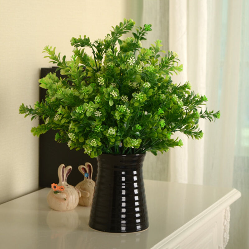 Best Green Fake Artificial Plant Plastic Flower Grass Bush Home This Month