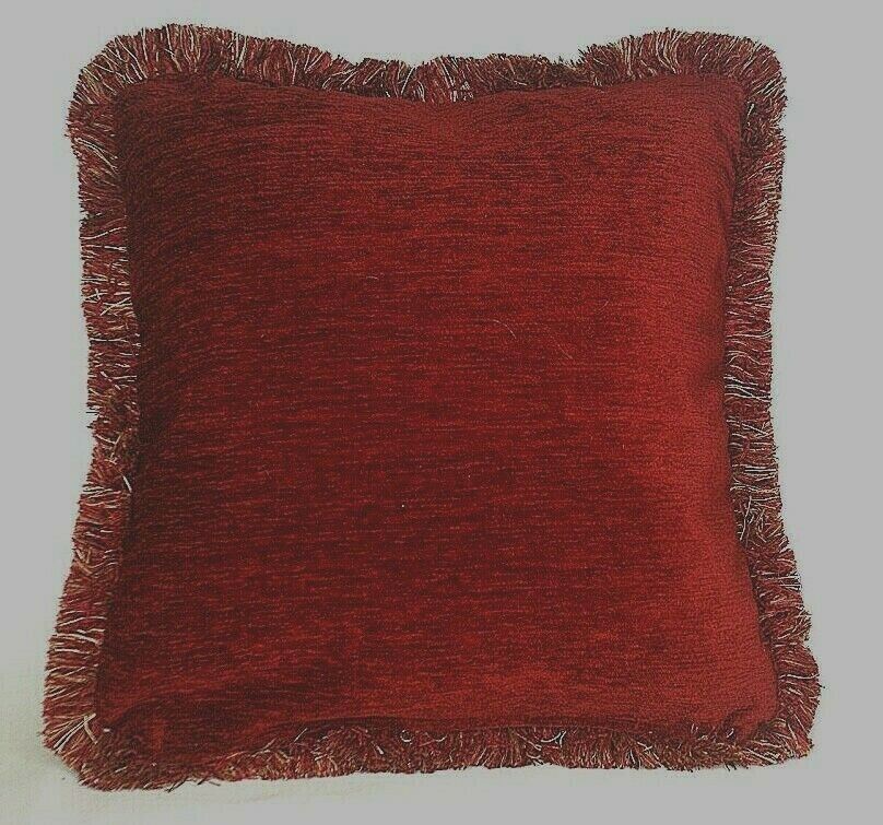Best Large Solid Rust Chenille Fringe Decorative Throw Pillow This Month
