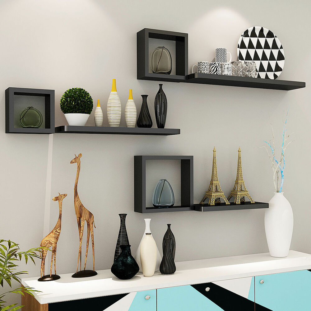 Best Set Of 6 Floating Wall Mounted Shelves Display Storage This Month