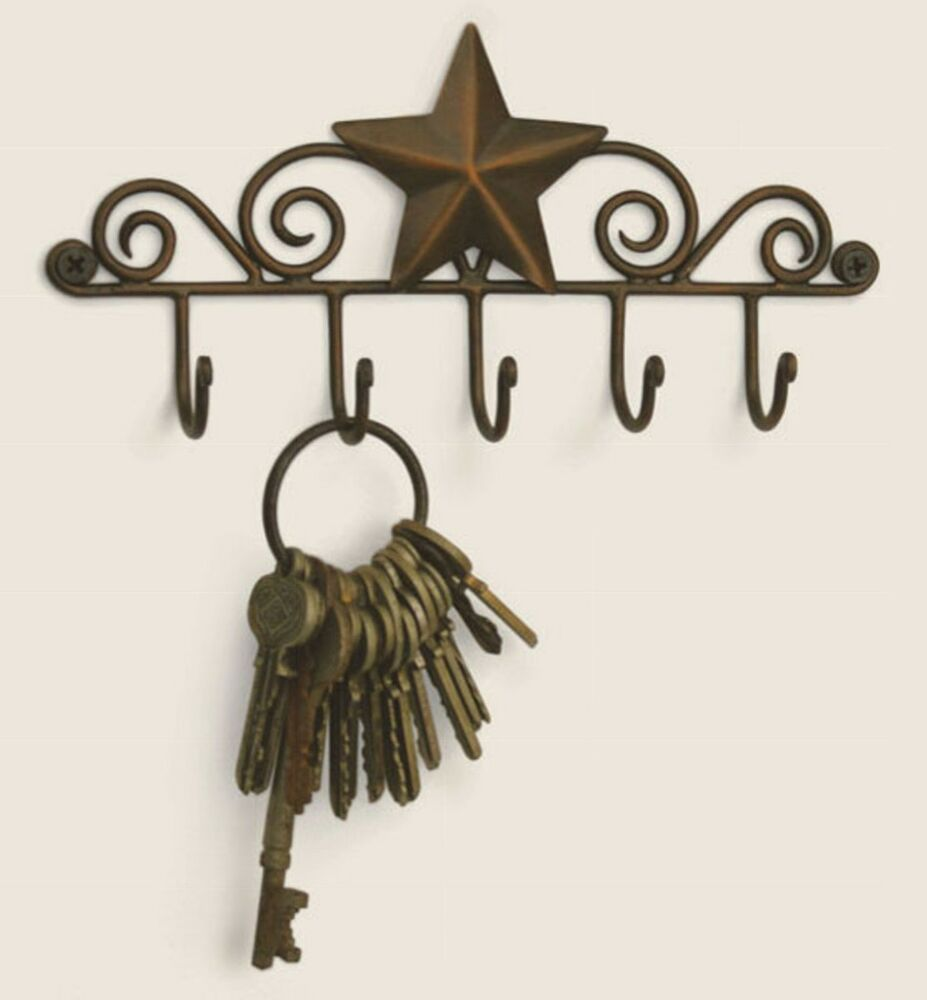 Best Iron Metal Decorative Barn Star 5 Wall Mounted Key Hanger This Month